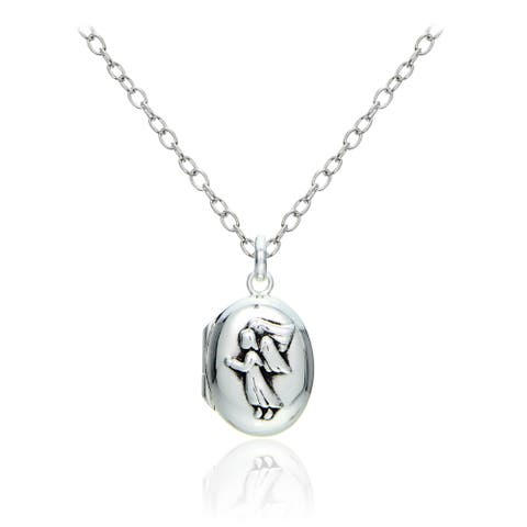 Mondevio Sterling Silver Angel Oval Locket Necklace
