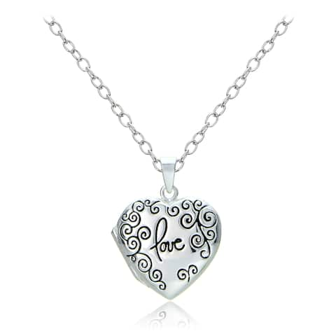 Mondevio Sterling Silver Swirl Love Heart Locket Necklace