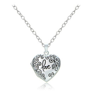 Mondevio Sterling Silver Swirl Love Heart Locket Necklace (2 options available)