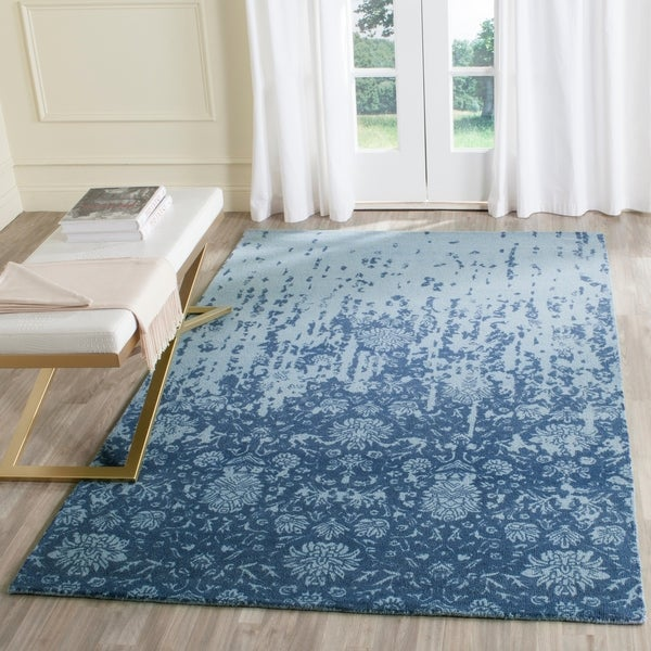 Safavieh Handmade Restoration Vintage Blue/ Dark Blue Wool Distressed Rug - 8' x 10'