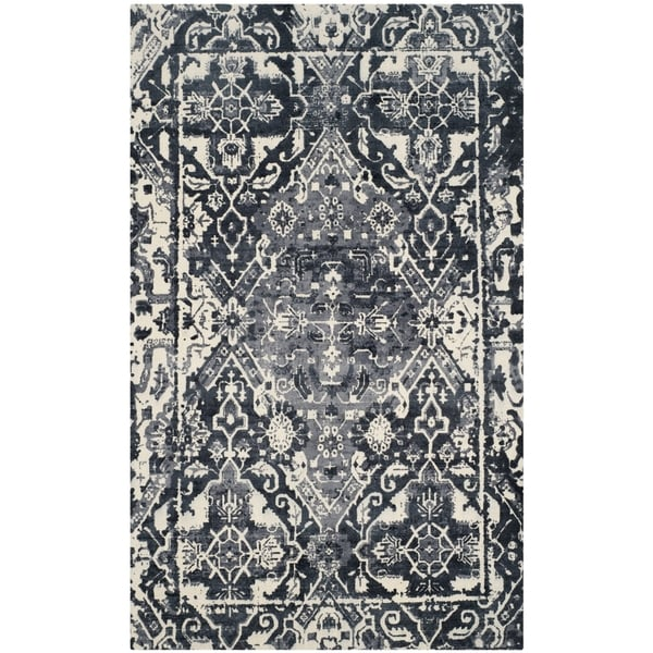 Safavieh Handmade Restoration Vintage Charcoal/ Ivory Wool Distressed Rug - 8' x 10'