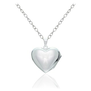 Mondevio Sterling Silver Faith Hope Love Heart Locket Necklace