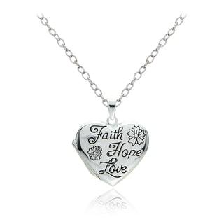 Mondevio Sterling Silver Faith Hope Love Heart Locket Necklace