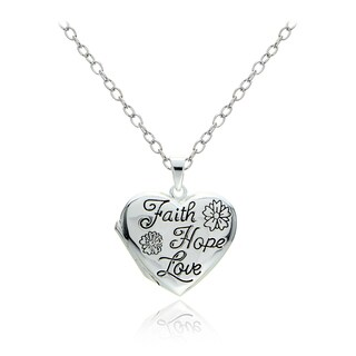 Mondevio Sterling Silver Faith Hope Love Heart Locket Necklace (2 options available)
