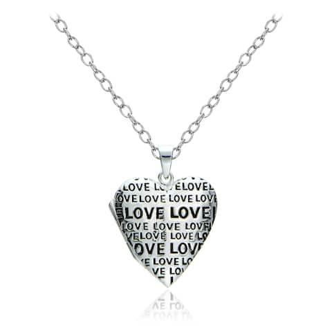 Mondevio Sterling Silver Love Heart Locket Necklace