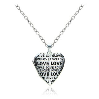 Mondevio Sterling Silver Love Heart Locket Necklace