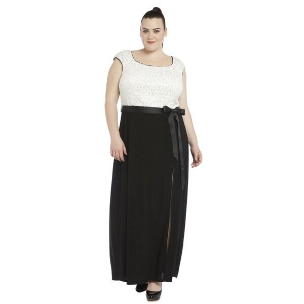 R & M Richards Plus-size Sequin Gown