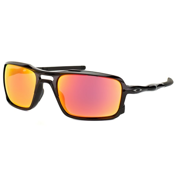 7777fce064f6a Oakley Triggerman OO9266-03 Polished Black Plastic Square Ruby Iridium Lens  Sunglasses
