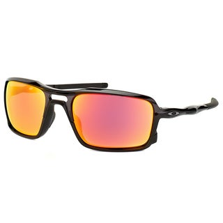 Oakley Triggerman OO9266-03 Polished Black Plastic Square Ruby Iridium Lens Sunglasses