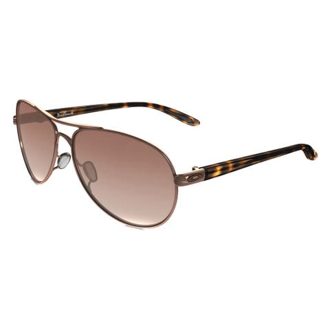 b9b5224cf90e4 Oakley Feedback OO4079-01 Rose Gold VR50 Brown Gradient Lens Aviator  Sunglasses