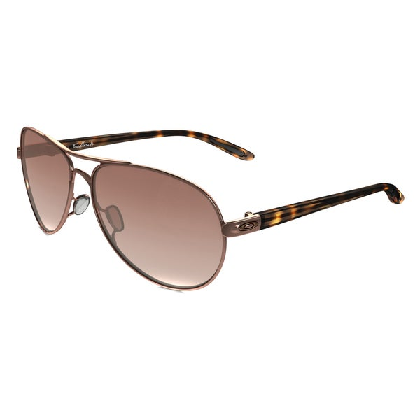 1e19ac2c09c Oakley Feedback OO4079-01 Rose Gold VR50 Brown Gradient Lens Aviator  Sunglasses