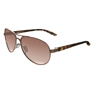 Oakley Feedback OO4079-01 Rose Gold VR50 Brown Gradient Lens Aviator Sunglasses
