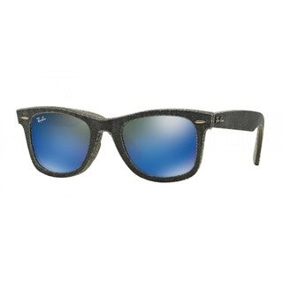 Ray-Ban RB2140 Wayfarer Unisex Denim Black/Grey Frame Blue Mirror Lens Sunglasses