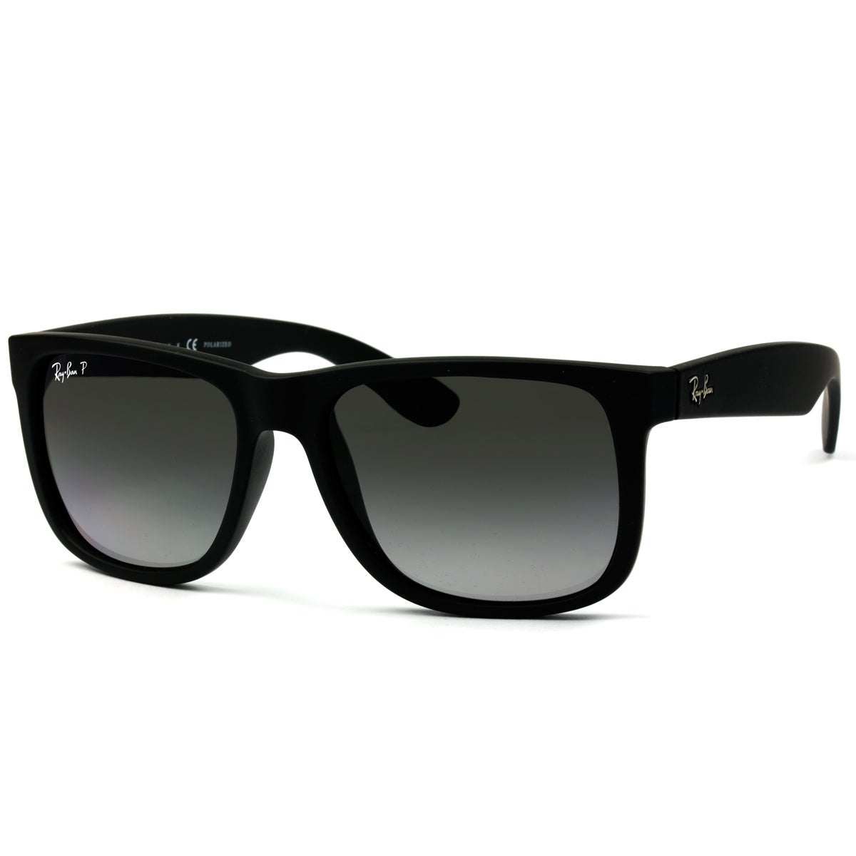 Ray Ban Justin Classic Rb4165 Black Frame Polarized Grey Gradient 55mm Lens Sunglasses