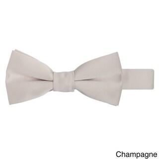 Jacob Alexander Boys' Solid-Color Microfiber Pretied Banded Bow Tie