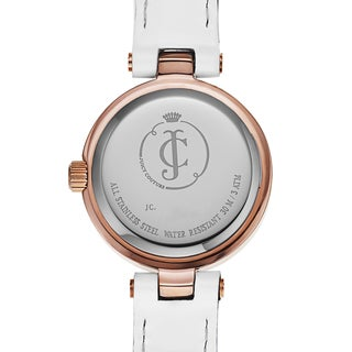 Juicy Couture Women's White Leather and Goldtone Japanese Quartz Watch