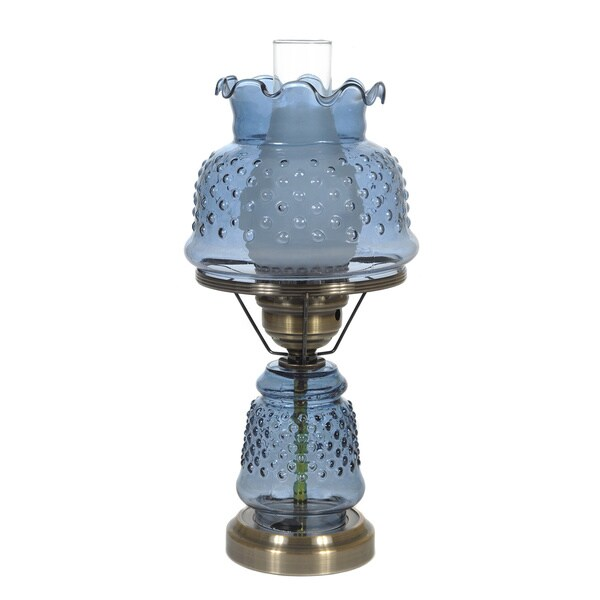 Hurricane Style 1-light Antique Brass Blue Table Lamp