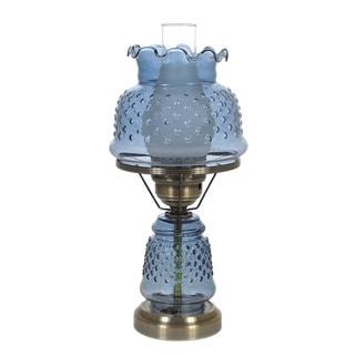 Hurricane Style 1-light Antique Brass Blue Table Lamp