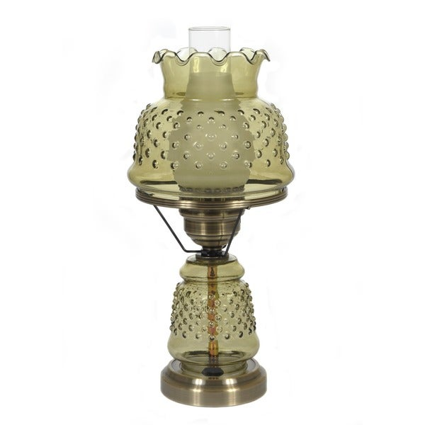 Hurricane Style 1-light Antique Brass Green Table Lamp