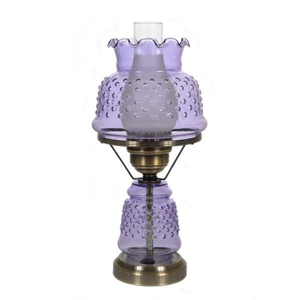 hurricane style 1 light antique brass violet table lamp. Black Bedroom Furniture Sets. Home Design Ideas
