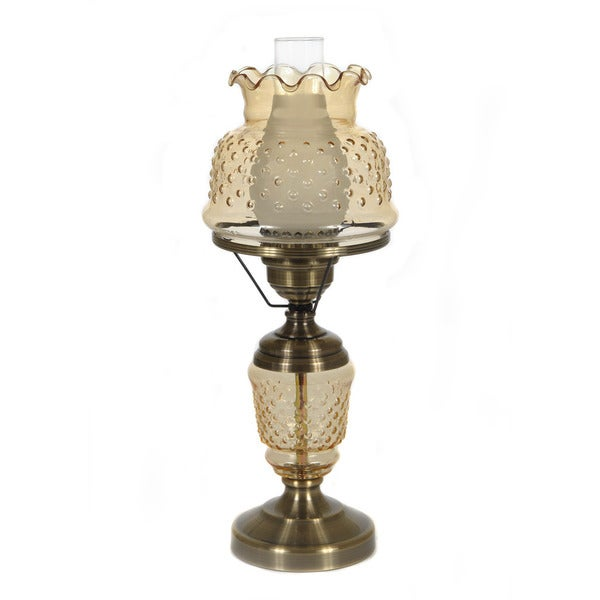 Hurricane Style 1-light Antique Brass Amber Table Lamp