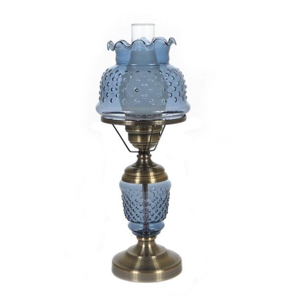 hurricane style 1 light antique brass blue table lamp. Black Bedroom Furniture Sets. Home Design Ideas