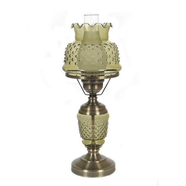 Hurricane Style 1-light Antique Brass Green Table Lamp