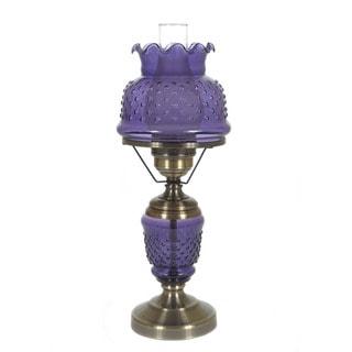 Hurricane Style 1-light Antique Brass Purple Table Lamp