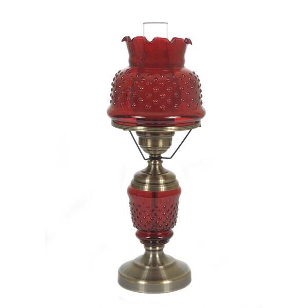 hurricane style 1 light antique brass cranberry table lamp. Black Bedroom Furniture Sets. Home Design Ideas