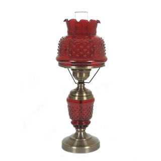 Hurricane Style 1-light Antique Brass Cranberry Table Lamp