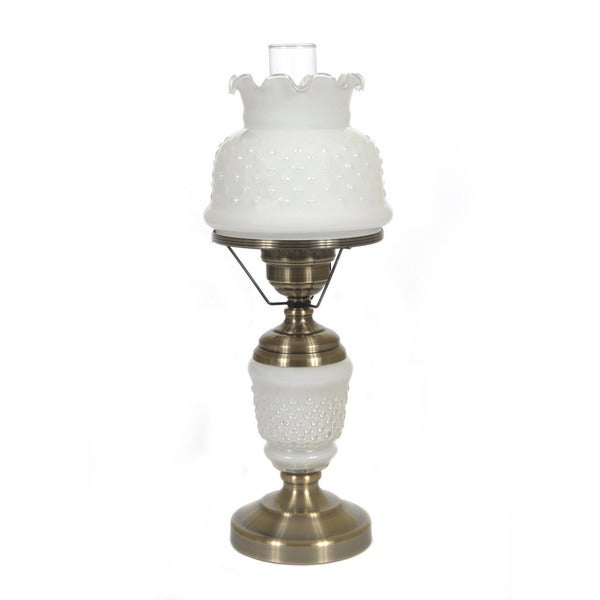 Hurricane Style 1-light Antique Brass Opal White Table Lamp
