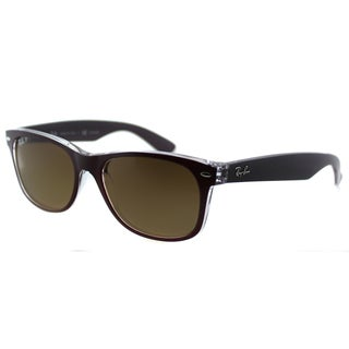 Ray Ban RB 2132 New Wayfarer 6054M2 Top Bordeaux On Transparent Brown Gradient Polarized Lens 55mm Sunglasses