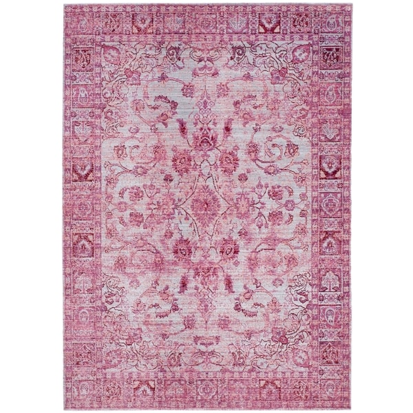 Safavieh Valencia Fuchsia/ Multi Overdyed Distressed Silky Polyester Rug (8' x 10')