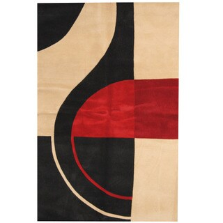 Herat Oriental Indo Hand-tufted Tibetan Ivory/ Red Wool Rug (5'3 x 8')