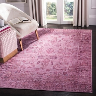 Safavieh Valencia Pink/ Multi Overdyed Distressed Silky Polyester Rug (8' x 10')