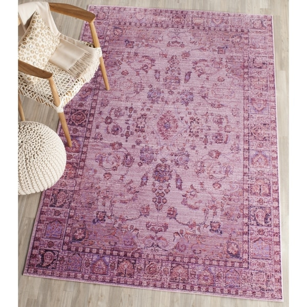 Safavieh Valencia Pink/ Multi Overdyed Distressed Silky Polyester Rug - 8' x 10'