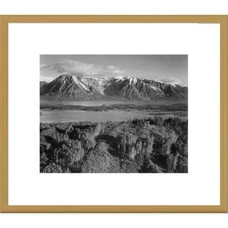 Global Gallery Ansel Adams 'View across river valley, Grand Teton National Park, Wyoming' Framed Ar