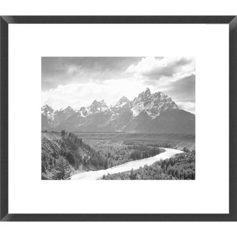 Global Gallery, Ansel Adams 'View from river valley towards snow covered mountains, river in foreground, Grand Teton