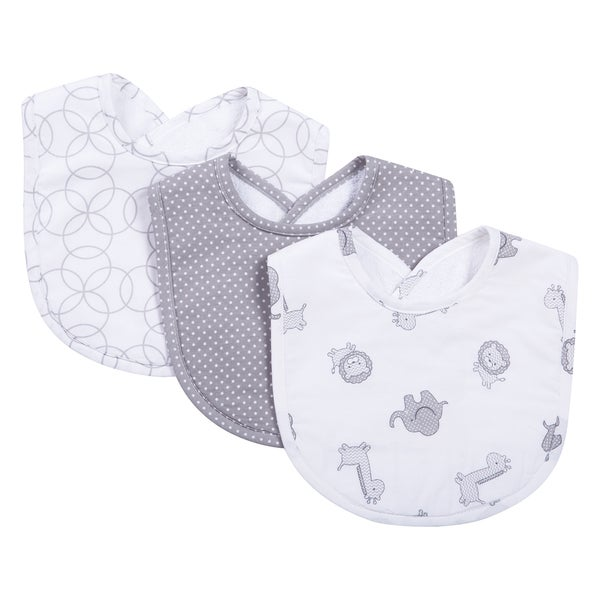 Trend Lab Safari Gray Bib Set (Pack of 3)