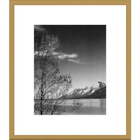 Global Gallery Ansel Adams 'View of mountains with tree in foreground, Grand Teton National Park, W