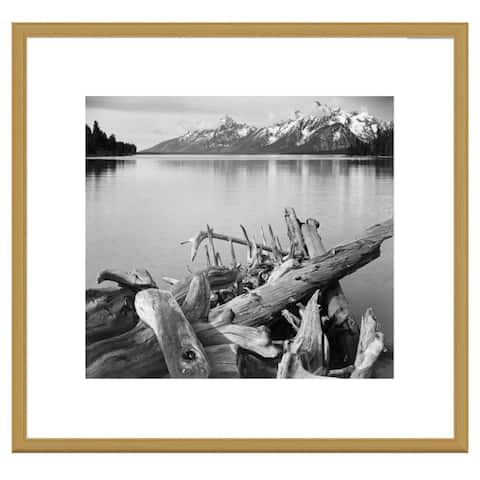Global Gallery, Ansel Adams 'Driftwood on shore of Jackson Lake, with Teton Range in background, Grand Teton Nationa
