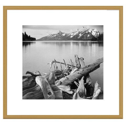 Global Gallery, Ansel Adams 'Driftwood on shore of Jackson Lake, with Teton Range in background, Grand Teton Nationa