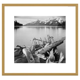 Ansel Adams 'Driftwood on shore of Jackson Lake, with Teton Range in background, Grand Teton Nationa
