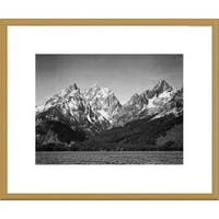 Global Gallery Ansel Adams 'Grassy valley and snow covered peaks, Grand Teton National Park' Framed