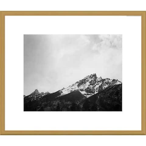 Global Gallery Ansel Adams 'Snow covered peak in Grand Teton National Park, Wyoming' Framed Art