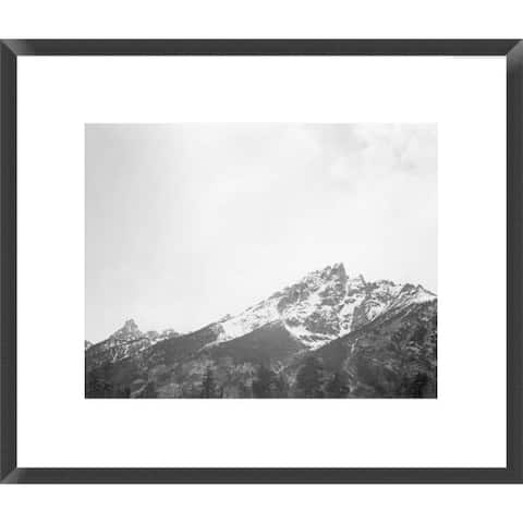 Global Gallery Ansel Adams 'Snow covered peak in Grand Teton National Park, Wyoming' Framed Art