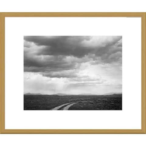 Global Gallery Ansel Adams 'Roadway near Grand Teton National Park, Wyoming' Framed Art