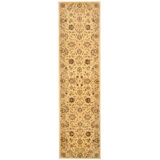Herat Oriental Indo Hand-tufted Tabriz Beige/ Tan Wool & Silk Runner (2'5 x 10')