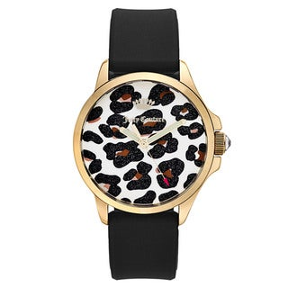 Juicy Couture Women's Black Rubber and Goldtone Japanese Quartz Watch