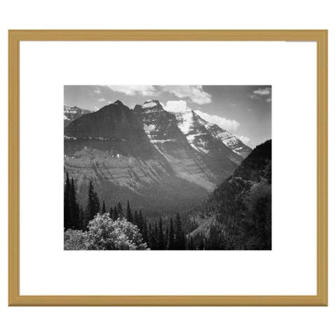 Global Gallery Ansel Adams 'Snow Covered Mountains, Glacier National Park, Montana' Framed Art